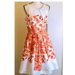 Leslie Fay White/Orange Dress